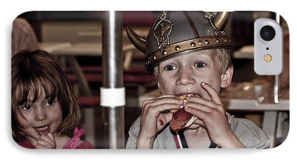 Is She Adoring Her Viking Or Coveting His Lunch IPhone Case by Sandi Mikuse
