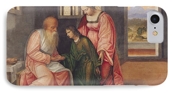 Isaac Blessing Jacob IPhone Case by Girolamo da Treviso II