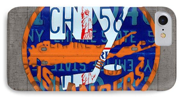 Islanders Hockey Team Retro Logo Vintage Recycled New York License Plate Art IPhone Case