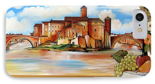 IPhone Case featuring the painting Isola Tiberina Rome by Roberto Gagliardi