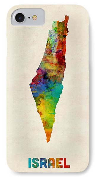 Israel Watercolor Map IPhone Case by Michael Tompsett