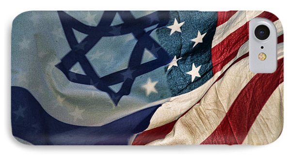 Israeli American Flags IPhone Case by Ken Smith