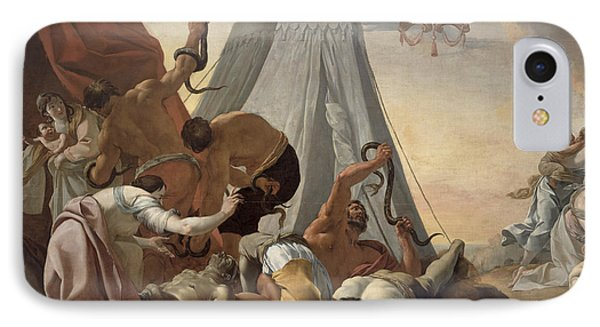 Israelites Afflicted With The Brazen Serpent Oil On Canvas IPhone Case by Simon Vouet
