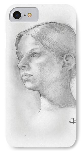 IPhone Case featuring the drawing Issabell by Paul Davenport