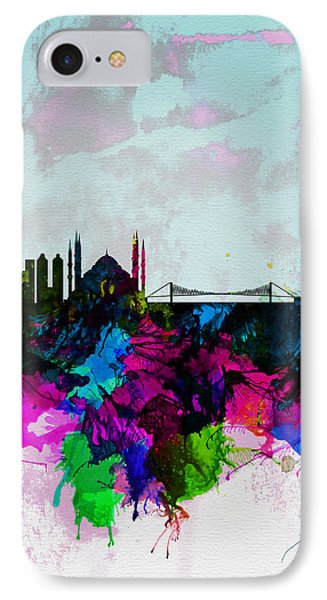 Istanbul Watercolor Skyline IPhone Case by Naxart Studio