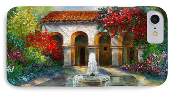 Italian Abbey Garden Scene With Fountain IPhone Case
