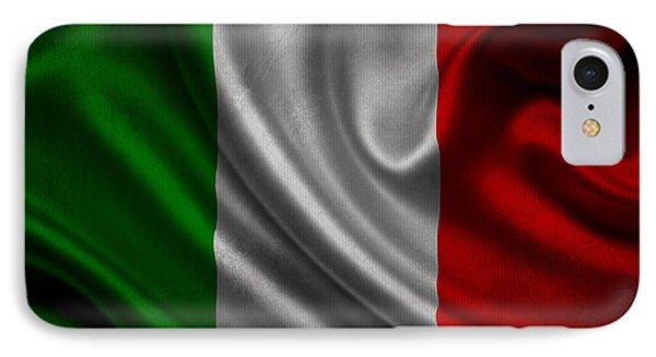 Italian Flag Waving On Canvas IPhone Case by Eti Reid