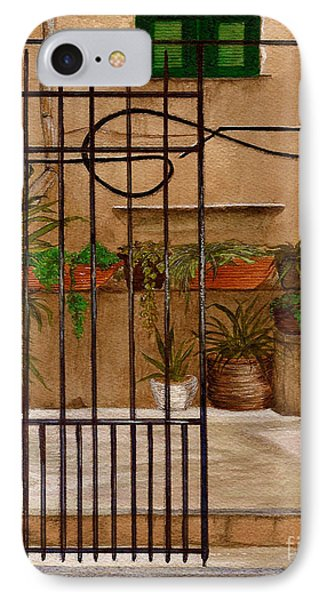IPhone Case featuring the painting Italian Iron Gate by Nan Wright