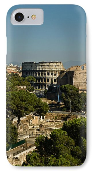 Italian Landscape With The Colosseum Rome Italy  IPhone Case by Marianne Campolongo