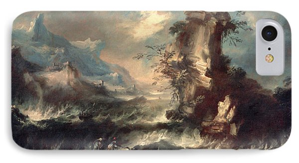 Italian Seascape With Rocks And Figures Phone Case by Marco Ricci