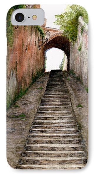 IPhone Case featuring the painting Italian Walkway Steps To A Tunnel by Nan Wright