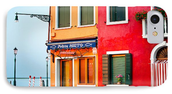 Italy Burano Fish Shop IPhone Case by Joan Herwig