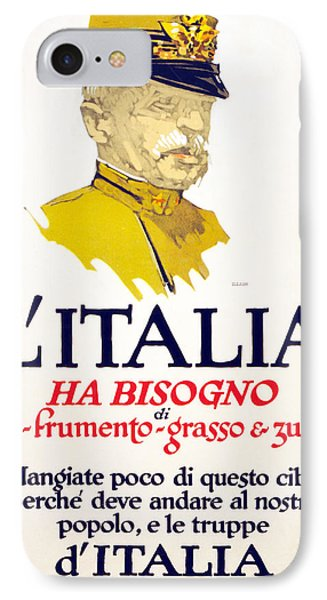 Italy Has Need Of Meat, Wheat, Fat IPhone Case by George Illian