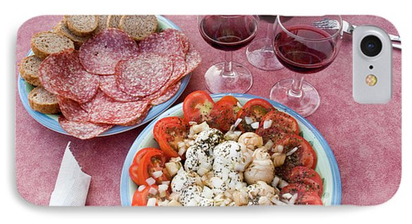 Italy, Positano Antipasti And Wine IPhone Case by Jaynes Gallery