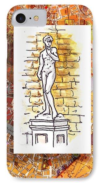 Italy Sketches Michelangelo David IPhone Case by Irina Sztukowski
