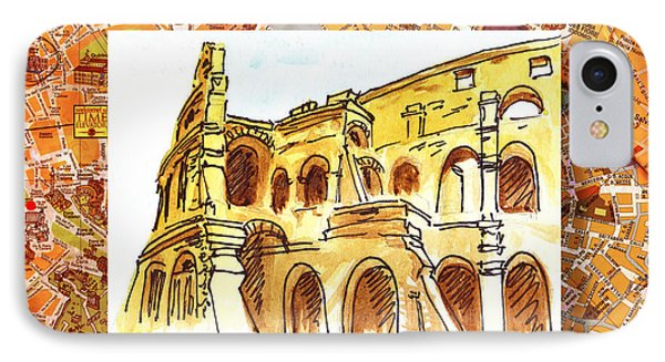 Italy Sketches Rome Colosseum Ruins IPhone Case
