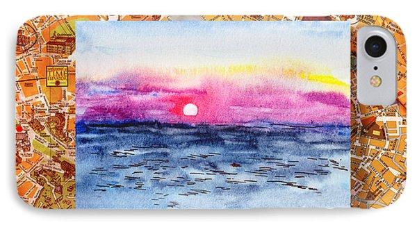 Italy Sketches Sorrento Sunset Phone Case by Irina Sztukowski