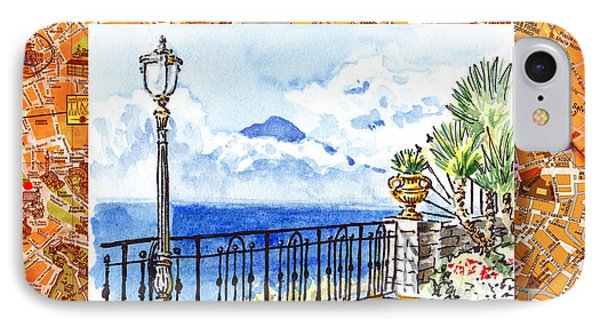 Italy Sketches Sorrento View On Volcano Vesuvius  IPhone Case by Irina Sztukowski