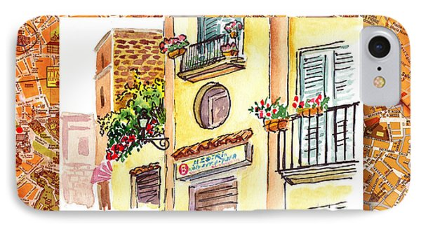 Italy Sketches Streets Of Sorrento  IPhone Case by Irina Sztukowski