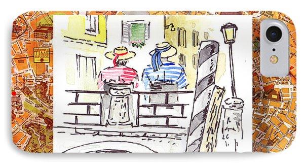 Italy Sketches Venice Two Gondoliers Phone Case by Irina Sztukowski