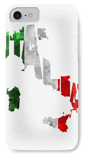 Italy Typographic Map Flag IPhone Case by Ayse Deniz