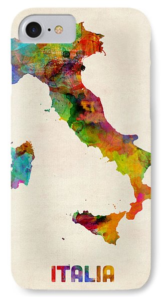 Italy Watercolor Map Italia IPhone Case