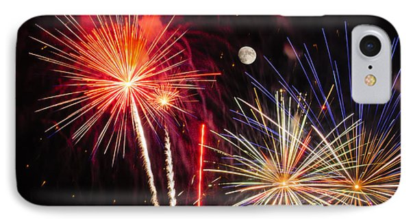 Its Raining Gold - Fireworks And Moon IPhone Case by Penny Lisowski