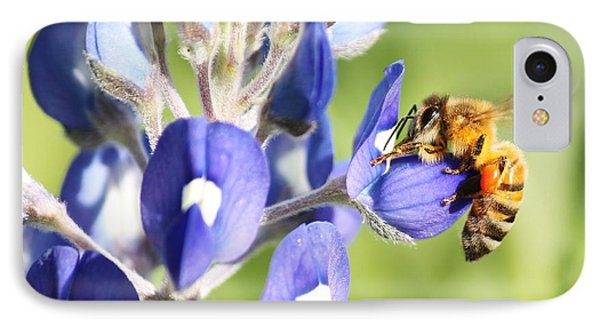 I've Got A Bee In My Bluebonnet Phone Case by Lorri Crossno