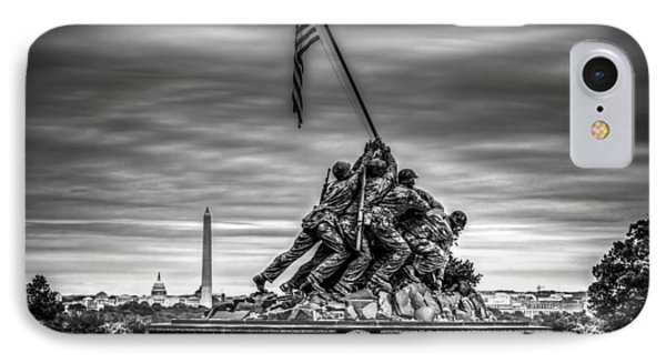 Iwo Jima Monument Black And White IPhone Case by David Morefield