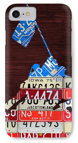 Iwo Jima United States Marines Raising The American Flag Silhouette License Plate Art On Wood Board IPhone Case