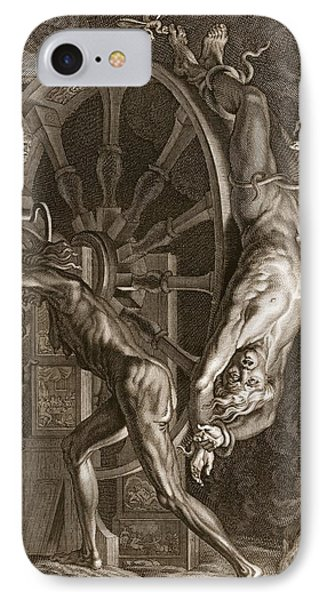 Punishment iPhone 7 Case - Ixion In Tartarus On The Wheel, 1731 by Bernard Picart