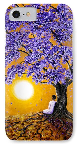 Jacaranda Sunset Meditation IPhone Case by Laura Iverson