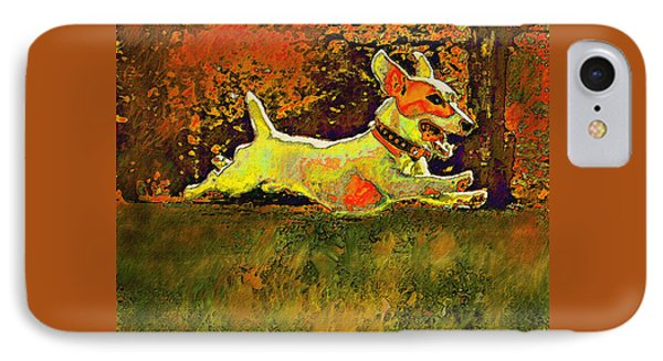 Jack Russell In Autumn Phone Case by Jane Schnetlage