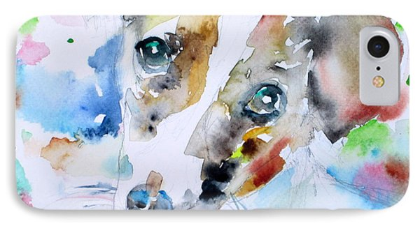 Jack Russell Terrier - Watercolor Portrait.3 IPhone Case by Fabrizio Cassetta