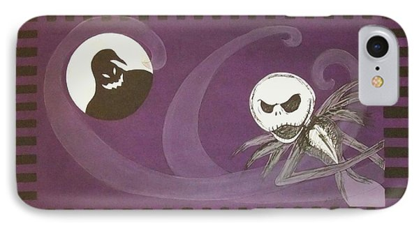IPhone Case featuring the painting Jack Skellington With The Oggie Boogie Floor Cloth 2012 by Cindy Micklos