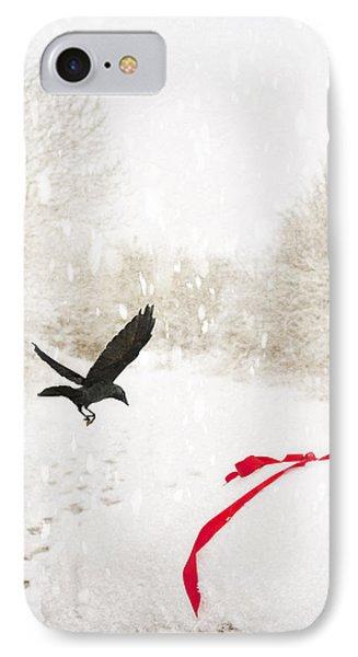 Jackdaw In Snow IPhone Case by Amanda Elwell