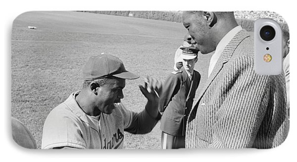 Jackie Robinson And Nat King Cole At Wrigley Field IPhone Case by The Harrington Collection