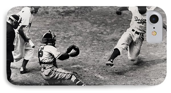 Jackie Robinson In Action IPhone Case by Gianfranco Weiss