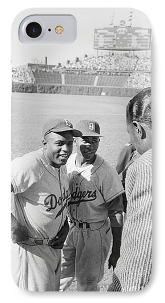 Jackie Robinson With Hank Aaron And Nat King Cole  IPhone Case by The Harrington Collection