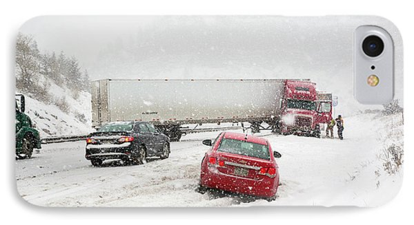 Jacknifed Truck Blocking Highway IPhone Case by Jim West