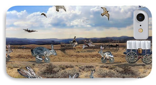 IPhone Case featuring the digital art Jackrabbit Juxtaposition  At Owyhee View by Tarey Potter
