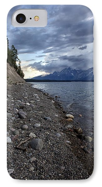 IPhone Case featuring the photograph Jackson Lake Shore With Grand Tetons by Belinda Greb