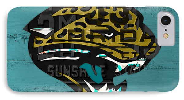 Jacksonville Jaguars Football Team Retro Logo Recycled Florida License Plate Art IPhone Case by Design Turnpike