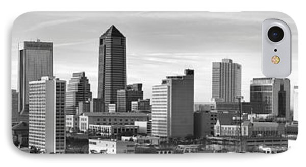 IPhone Case featuring the photograph Jacksonville Skyline Morning Day Black And White Bw Panorama Florida by Jon Holiday