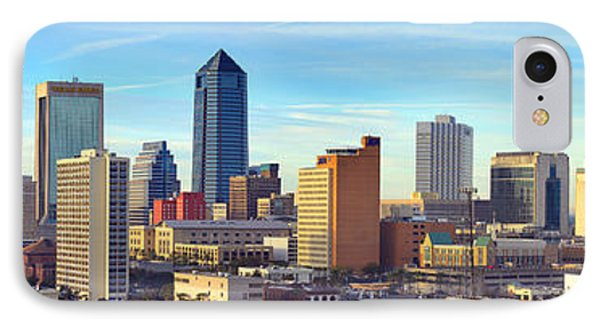 IPhone Case featuring the photograph Jacksonville Skyline Morning Day Color Panorama Florida by Jon Holiday