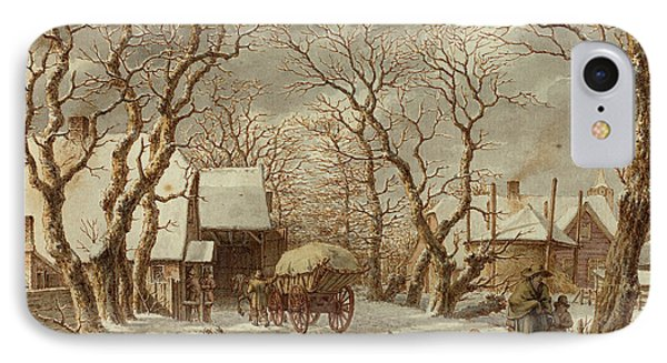 Jacob Cats, Dutch 1741-1799, Winter Scene IPhone Case by Litz Collection