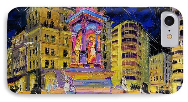Jacobins Fountain During The Festival Of Lights In Lyon France  IPhone Case by Mona Edulesco