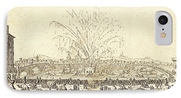 Jacques Callot, French 1592-1635, Fireworks On The Arno IPhone Case by Litz Collection
