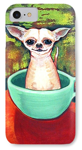 Jadite Fireking Teacup Chihuahua IPhone Case by Rebecca Korpita