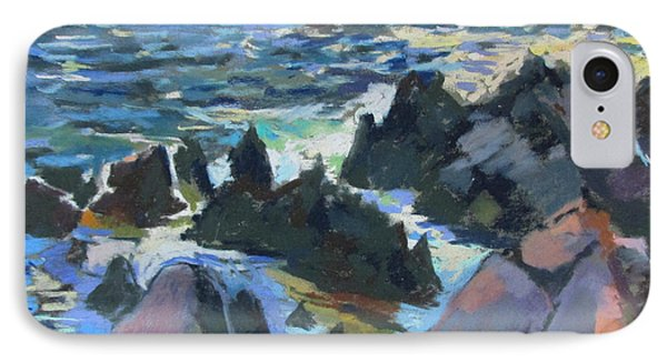 IPhone Case featuring the painting Jagged Rocks by Linda Novick